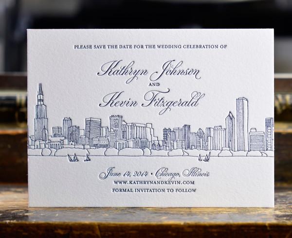 steracle press chicago il wedding invitation