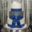 130x130 sq 1473348474444 round navy and silver 25th anniversary cake