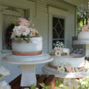 130x130 sq 1473348484829 shabby chic naked wedding cake with cake lace and