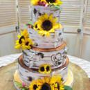 130x130 sq 1473359900279 birch bark wedding cake with sunflowers
