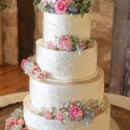 130x130 sq 1473359910612 floral wedding cake with hand piped buttercream la