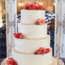 130x130 sq 1473359918431 lace applique wedding cake with coral flowers 1