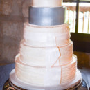 130x130 sq 1473359927561 lace wedding cake with silver tier and fondant sat