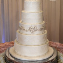 130x130 sq 1473359937103 quilted and lace wedding cake with crystal beaded