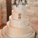130x130 sq 1473359956386 rustic elegance wedding cake with lace and gold mo