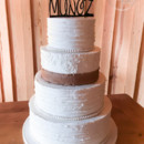 130x130 sq 1473359986785 shabby chic wedding cake with burlap lace and butt