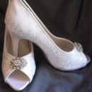130x130 sq 1452306783958 lace wedding shoe with vintage style oval brooch