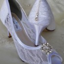 130x130 sq 1452306790039 lace wedding shoes with crystal swirl flower and c