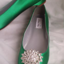 130x130 sq 1452306833911 green kitten heels with sparkling oval brooch