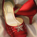 130x130 sq 1452307345507 red wedding shoes with crystal snowflake