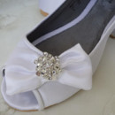 130x130 sq 1452307474105 satin peep toe ballet flat with bow and crystal br