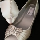 130x130 sq 1452307545033 ivory wedge with pearl and crystal bow