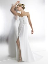 Style T525 is a sexy A-line with a knee high slit. The flowing chiffon is draped into a faux wrap skirt accented with beading.