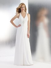 Style T549 A flowy chiffon a-line with v-neck halter. The bodice is accented with Swarovski crystals, pearls and beads.