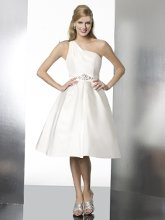 T561 This short and sassy taffeta gown features a sash accented with beading on the waist. Finished with a zipper closure.