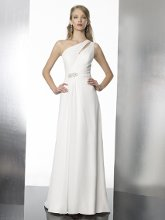 Style T563 This chiffon A-line features a one shoulder with keyhole detailing. The waist is accented with beading and finished with a zipper closure.