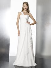 Style T568 A Grecian inspired chiffon features draping along the front skirt and beaded accents at the waist.