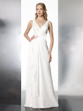 Style T576 This flowing chiffon A-line features a deep V-neckline and a drop waist. Waist is accented with beading and finished with a zipper closure.