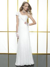Style: T584 This elegant sheath features one shoulder detailing and subtle sequin throughout.