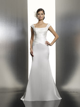T621 A fitted mermaid gown in a rich satin. The open neckline features delicate alencon lace fabric encrusted with Swarovski crystals and a cross-ruched bodice for a slimming silhouette.