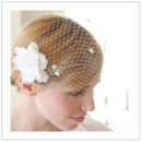 130x130 sq 1374791662055 french netting bandeau birdcage veil with chenille dots   white or ivory