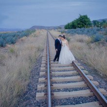 220x220 sq 1461746458545 train tracks bride groom wedding