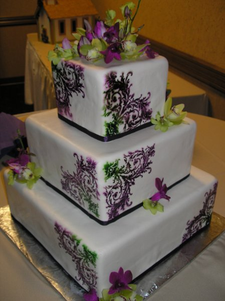 Square Wedding Cake Green: Lime green damask wedding cake dream day ...