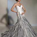 Y11211 - Ivon  <br /> With cascading rows of ruffled misty tulle and glittering hand-beading softly spilling down to the hemline, Ivon creates a mesmerizing effect in this A-line silhouette. The Paris satin asymmetrically dropped waist bodice boasts exquisite hand-draping and glamorous hand-beading trims the sweetheart neckline. A chapel length train and functional corset back complete this chic look. Removable straps are included.