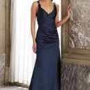 BY2988 Sleeveless satin slim A-line gown with V-neckline, wide straps accented with jeweled brooches, ruched faux wrap bodice with double Empire waistbands, back zipper. Matching shawl included (not shown). Available in all satin colors.