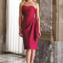 BY2991T Strapless satin knee-length sheath with softly curved neckline, side gathered bodice, wrapped skirt, corset back bodice. Matching shawl (not shown) and removable straps included. Available in all satin colors.