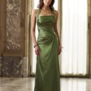 BY11024 Fitted soft crepe back satin A-line dress with side draping, self-tie halter strap and corset back. Matching shawl included. Available in all crepe back satin colors.