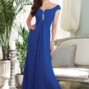 Style BY21389 Tip-of-the-shoulder chiffon A-line gown with cap sleeves, notched neckline, center ruched Empire bodice adorned with hand-beaded motif, back zipper, center draped skirt. Available in all chiffon colors. Color shown: Peacock
