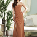 Style BY21390 <br /> Strapless chiffon slim A-line gown, directionally draped bodice with hand-beaded motif on hip and corset back, side draped skirt with side slit. Removable straps included. Available in all chiffon colors. Color shown: Bronze