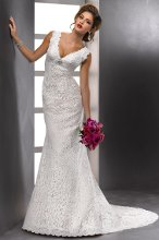 Meredith - 83703 Vintage lace with scalloped detail along the deep V-neckline and plunging back transforms simple style into stunning beauty in this slimming A-line featuring a Swarovski crystal brooch at the empire waist. Covered button over zipper closure with inset corset.