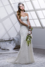 Logan 4SC809 Chantilly scallop lace over Sinatra Satin with white faceted bead and pearl encrusted bodice.