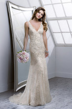 Maeve 4SC830 Beaded embroidery on tulle with Demir Stretch Satin slip dress.