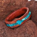 Honduras Rosewood Engagement Ring with Turquoise Inlay and Setting