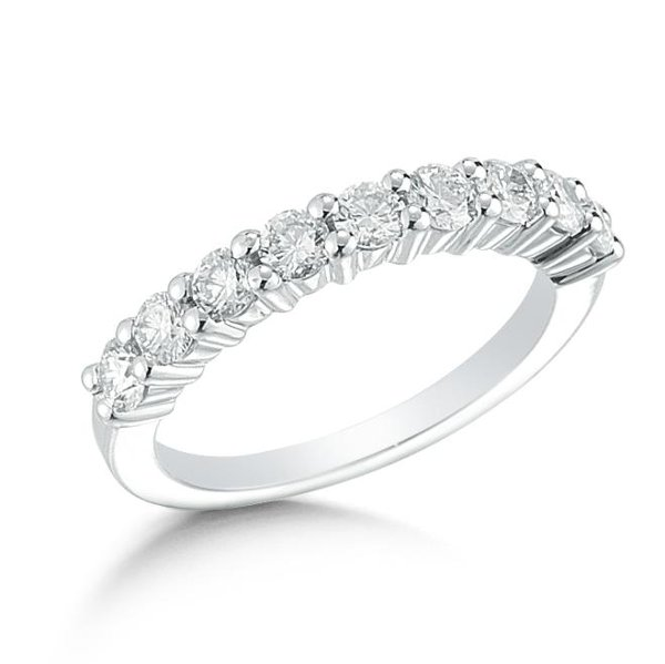 <b>Striking eternity band is complete with 2.00 Carat total weight of shared prong set round diamonds. </b><br>