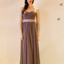 Lierre Strapless sweetheart gown with ruched bodice & self sash. Available in various colors!