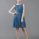 Orchard High neck bateau neckline dress with ruffle and pleated waistline. Available in various colors!