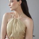Dusk til Dawn Twist top, open back halter dress with full gathered skirt.