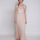 Belong to Me Triangle pleated spaghetti strap bodice with sparkling empire beaded lace