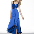 "Val Stefani style VS9260 Satin faced chiffon A-line w/high-low hem, sweetheart/open back, natural waist, 3"" cap sleeves, rhinestones, gems & bugle beads, medallion at waist"