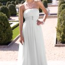 2125W Strapless chiffon wedding dress with A-line skirt and triple beaded rows on empire waist.