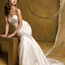 3080W Satin mermaid wedding dress with beaded lace empire and hemline, button back and sweep train.