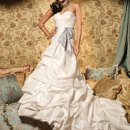 6096W Pleated taffeta wedding dress with sash waist.