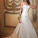 6097W Satin wedding dress with side pleating and tulip side.