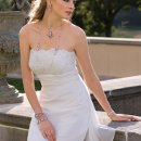 6139W Chiffon sheath wedding dress with beaded lace empire waist, ruched waist and sweep train.