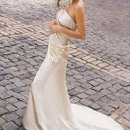 7051W Strapless soft shirred satin sheath wedding dress with button back and chapel length train.