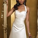 7102W Satin side shirred halter wedding dress featuring a sweetheart neckline, button back, and train.